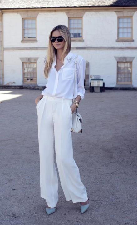 Biały total look w wydaniu eleganckim (źródło: pinterest.com)