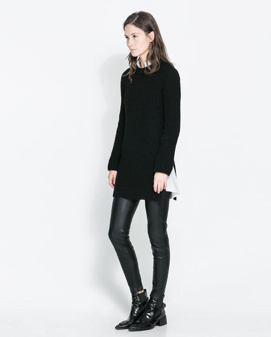 Sweter z rozcięciami po bokach Zara (źródło: zara.com)