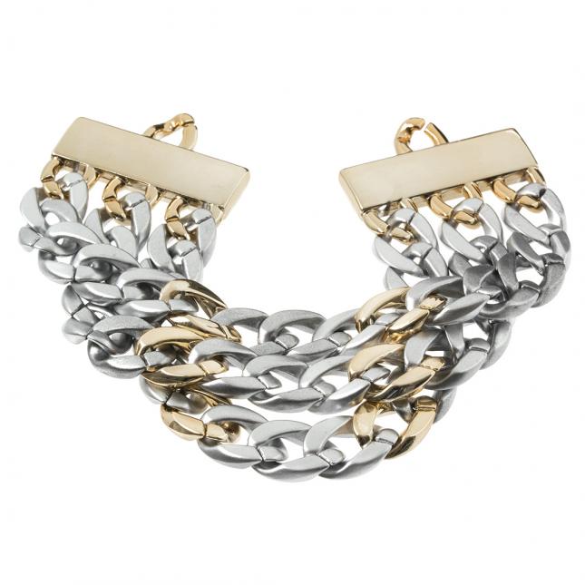 Szeroka bransoleta w kolorze złota i srebra