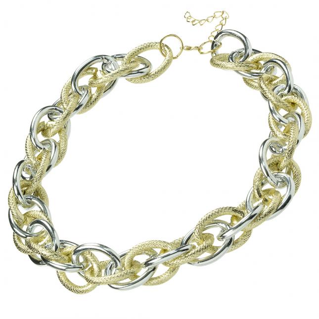Naszyjnik - łańcuch w kolorze złota i srebra