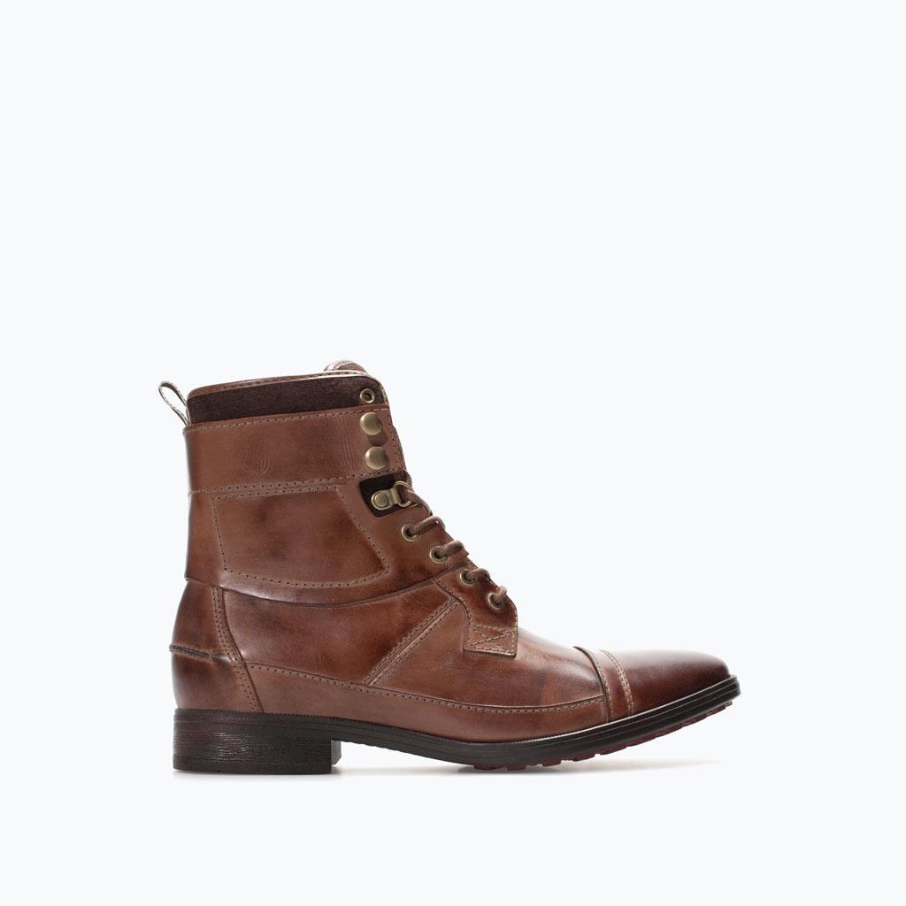 Skórzano-filcowe boty w stylu worker (źródło: zara.com)