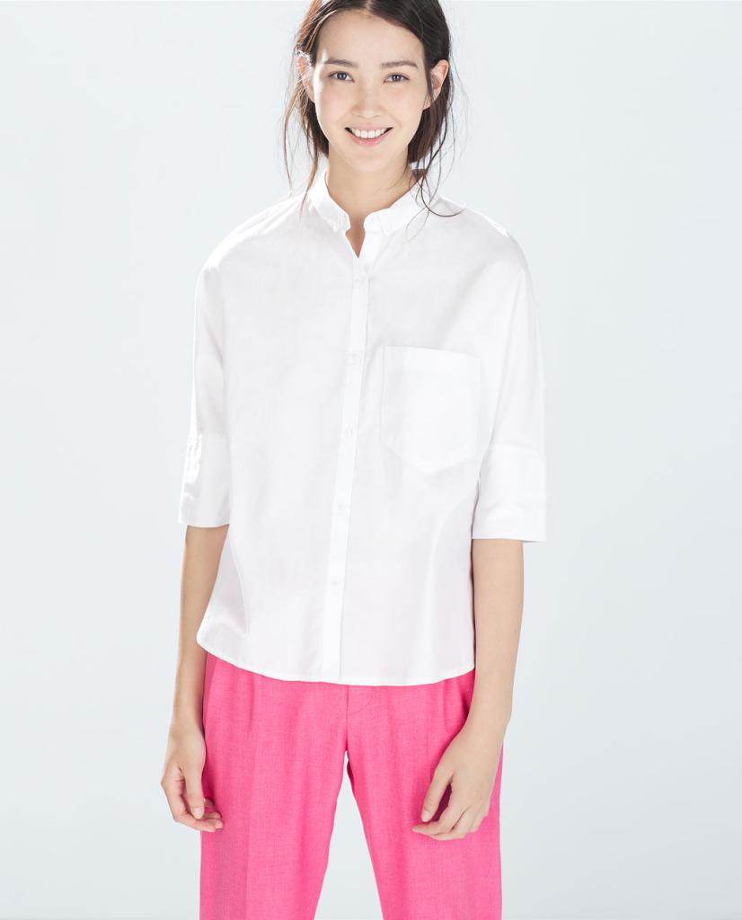 Biała koszula z rękawkiem do łokcia (źródło: zara.com)
