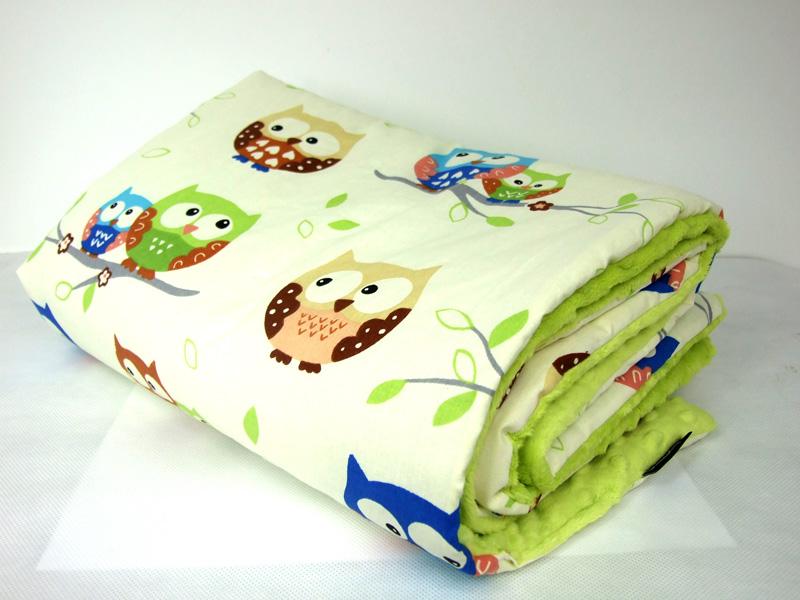 """kocyk Minky """"zielone jabłuszko i sowy"""""""