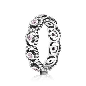 pierścionek ze srebra z różową cyrkonią