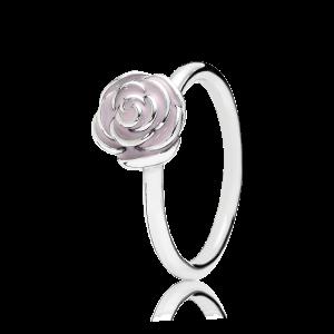 pierścionek ze srebra, różowa emalia