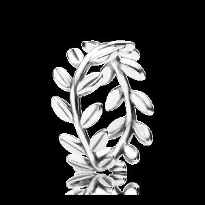 srebrny pierścionek z listeczkami