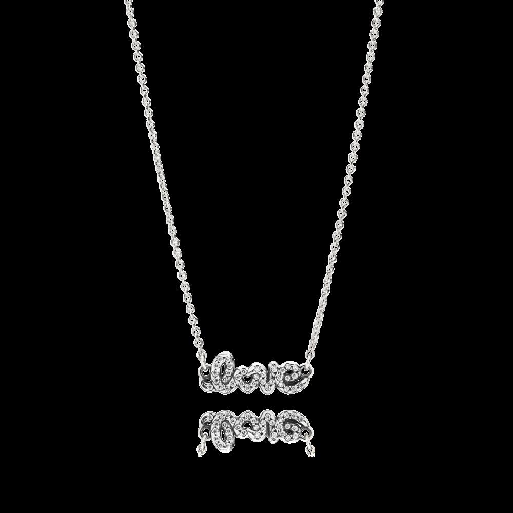 srebrny naszyjnik z napisem love