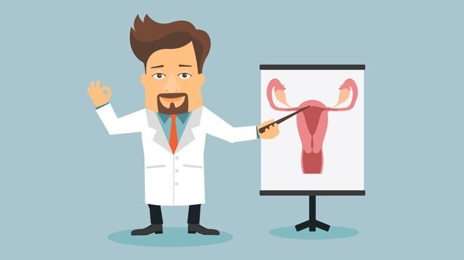 jak przygotować się do wizyty u ginekologa - grafika przedstawiająca lekarza z tablicą na której jest układ rozrodczy kobiety