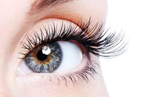 zbliżenie na oko z przepięknymi rzęsami