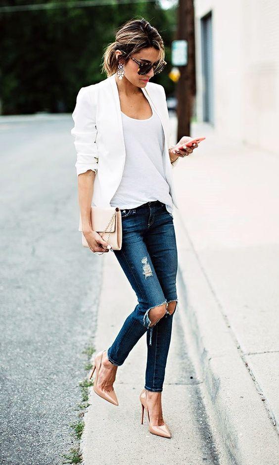 modna biała marynarka