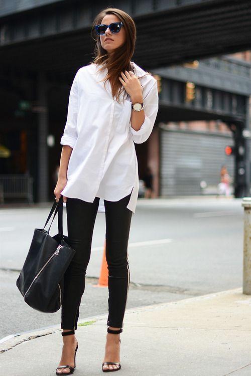biała koszula i czarne spodnie