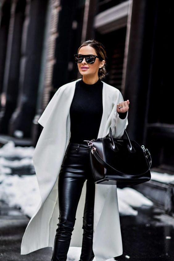 biały płaszcz stylizacje